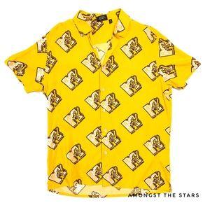 MTV Logo Yellow Gold & Pink Button Down Shirt